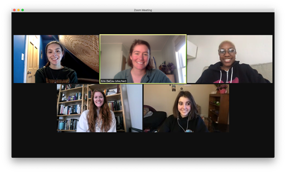 Screenshot of Zoom video chat with Smith College researchers