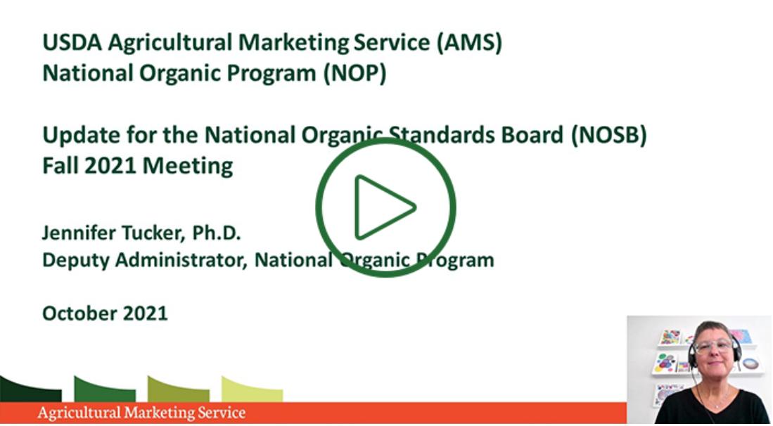 NOP Update for Fall 2021 NOSB Meeting
