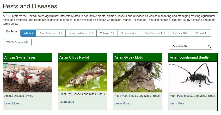 APHIS Pest and Disease page