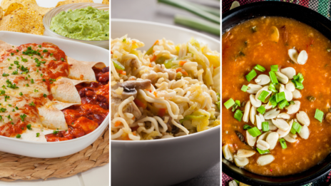 A collage of chicken enchiladas, Indonesian stir fry, and African-inspired peanut stew.