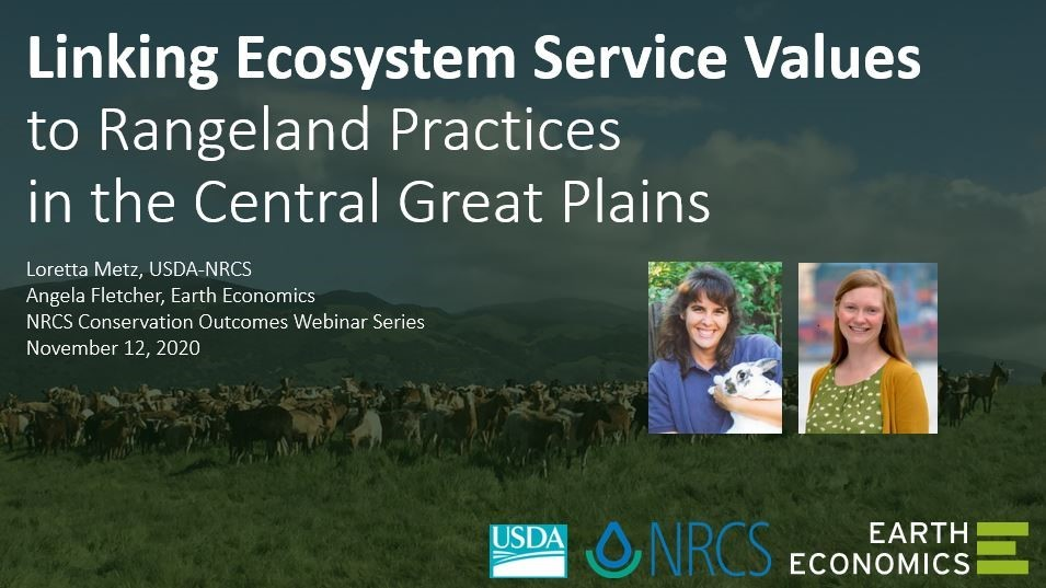 Webinar: Linking Ecosystem Service Values to Rangeland Practices in the Central Great Plains, Nov. 12 @ 3 p.m. ET.