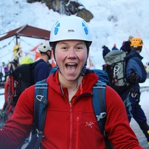 Sage Buch participates in the International Ice Climbing Festival in Uncompahgre National Forest, Colorado.