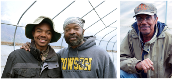 """Jason Tartt and his son, Jason Jr., stand together in a high tunnel (L); Sylvester """"Sky"""" Edwards"""