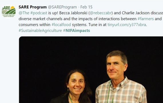 SARE Program. Becca Jablonski and Charlie Jackson. Podcast Local Foods. NIFA Impacts.