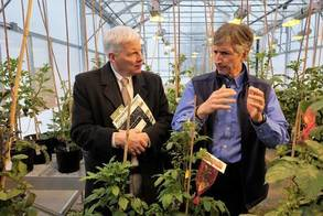 NIFA Director Scott Angle (left) learns about potato research with David Douches. Program. Photo by MSU.