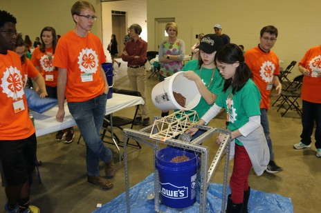 Bridge Building Challenge at the S.C. 4-H Engineering Challenge. Photo courtesy of Clemson University Relations.