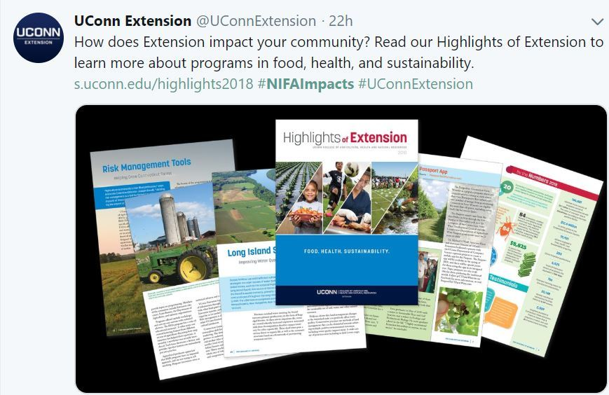 UConn Extension Report. USDA NIFA Fresh From the Field.