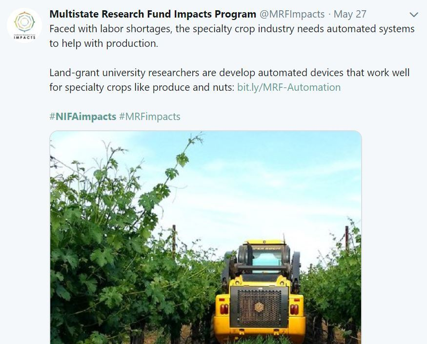 Multistate Research Impact Program. USDA NIFA Fresh From the Field. May 2019