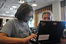 Youth learn about computers at a 2018 Air Force 4-H camp in New York. (Photo courtesy of 4-H).