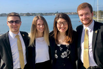 Western Michigan University students Ali Bultynck, Samantha McGrath, Kyle Wade, and Alden Wichman. Image courtesy of WMU.