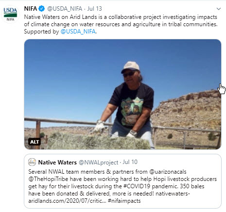 NIFA's Native Waters on Arid Land tweet