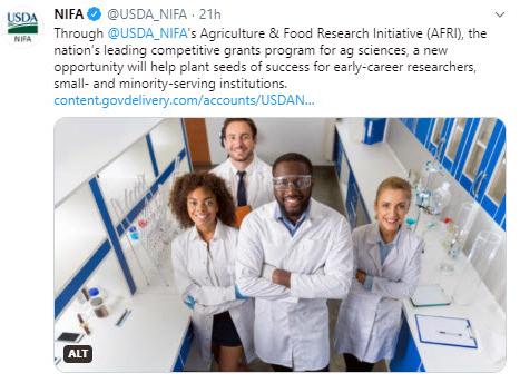 NIFA AFRI applied sciences tweet