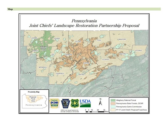 Map of selected area of the Joint Cheif's Partnership Project