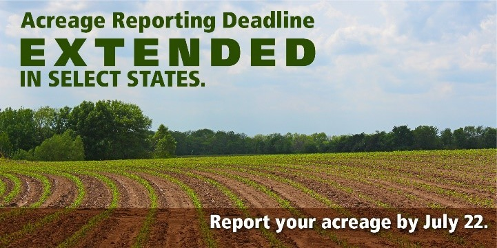 acreage reporting graphic with a field in the background