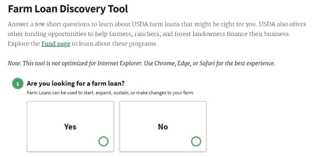 Example of new USDA online Farm Loan Discovery tool questionnaire