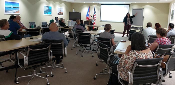 EWP Coordinator Coral Santiago leads the EWP Workshop in San Juan on 9 May 2019.