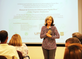 Sally Gonzalez, primary author of the new PR & USVI Urban Forestry Manual, addresses participants at the IITF event. USDA Forest Service photo.