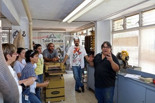 René Delgado (right) leads hands-on woodworking workshops. USDA Forest Service photo.