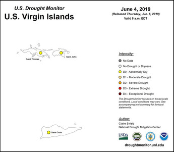 First USVI Drought Monitor map published June 4 2019 showing abnormally dry conditions across the territory.