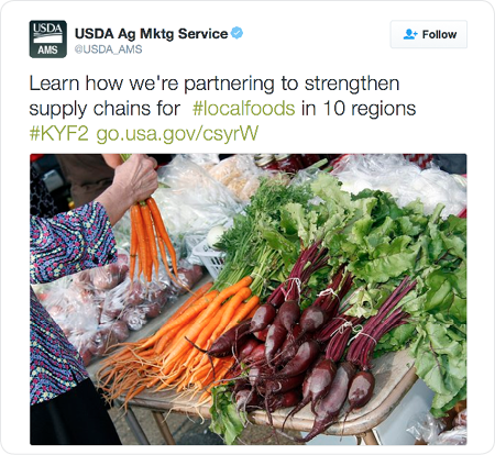 Learn how we're partnering to strengthen supply chains for #localfoods in 10 regions #KYF2 http://go.usa.gov/csyrW