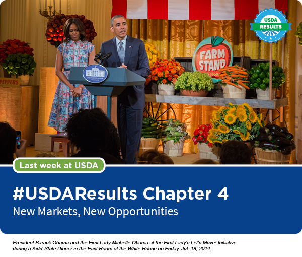 President Barack Obama and the First Lady Michelle Obama at the First Lady's Let's Move! Initiative during a Kids' State Dinner in the East Room of th
