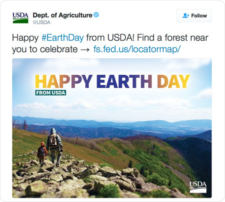 Happy #EarthDay from USDA! Find a forest near you to celebrate → http://www.fs.fed.us/locatormap/
