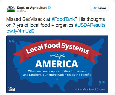Missed SecVilsack at #FoodTank? His thoughts on 7 yrs of local food + organics #USDAResults http://ow.ly/4mUzi9