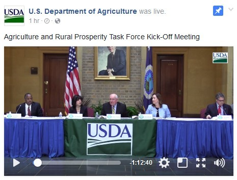 Video still of U.S. Secretary of Agriculture Sonny Perdue hosting the inaugural meeting of the Interagency Task Force on Agriculture and Rural Prosper