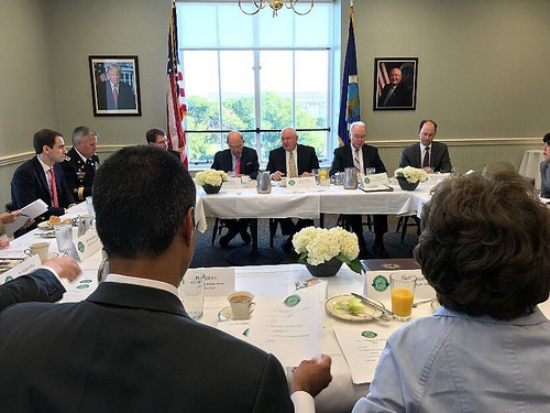 Agriculture Secretary Sonny Perdue hosts a working breakfast meeting with members of the Agriculture and Rural Prosperity Task Force