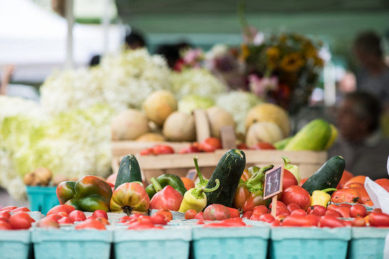 Mixed produce and flowers at USDA Farmers Market