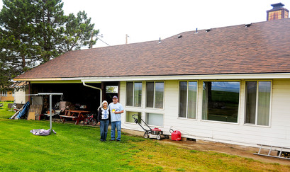 Mary and Abbie Van Pelt replaced the roof of their home on the Confederated Tribes of the Umatilla Indian Reservation