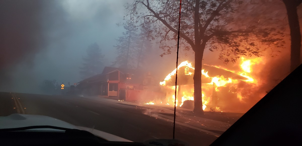 Camp fire in the town of Paradise, California.