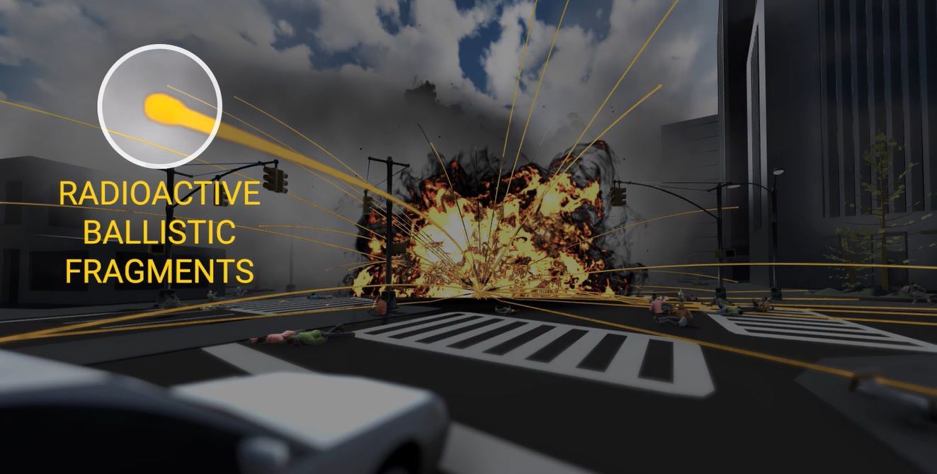 From the video, a radioactive blast will release radioactive ballistic fragments.