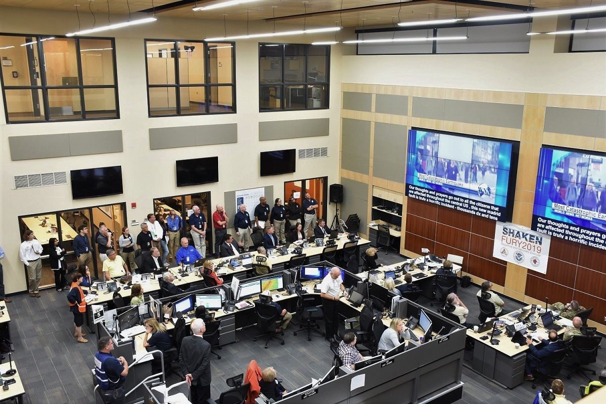 Bird's eye view of Shaken Fury activity at Kentucky Emergency Management's Emergency Operations Center in Frankfort.