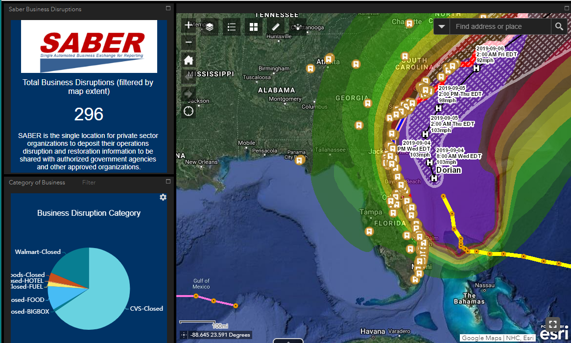 SABER status in an ArcGIS application developed by the U.S. Department of Homeland Security