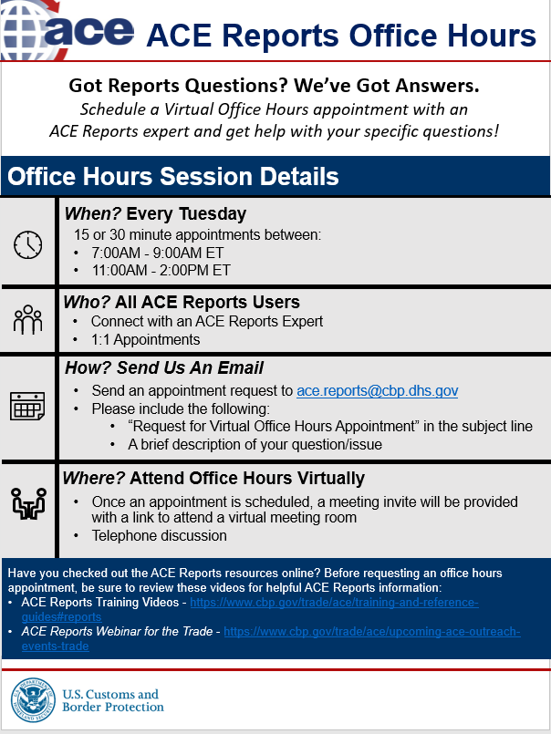 ACE Reports Office Hours Flyer