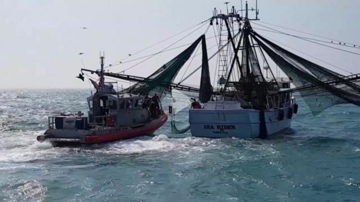 Crew members from the Coast Guard Cutter Tarpon, homeported in St. Petersburg, Florida, and Station Cortez medevac a 19-year-old man from a 78-foot sh