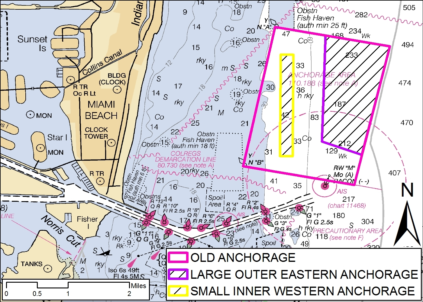 The Coast Guard modified the Port of Miami Anchorage Area July 19 by dividing it into two areas, the inner-western anchorage and the outer-eastern anc