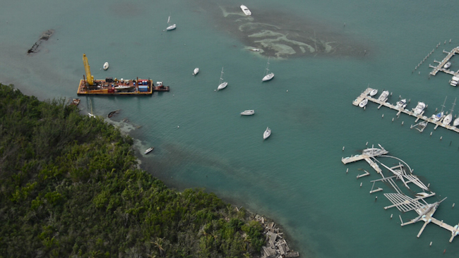 Aerial view of vessel salvage crews continue clean-up operations in Puerto Rico after Hurricane Maria