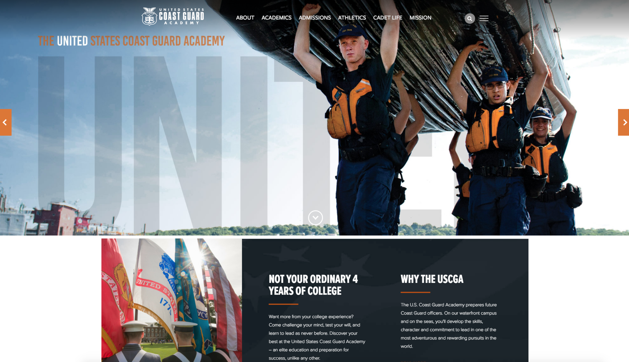 The Coast Guard Academy has redesigned it's external website.