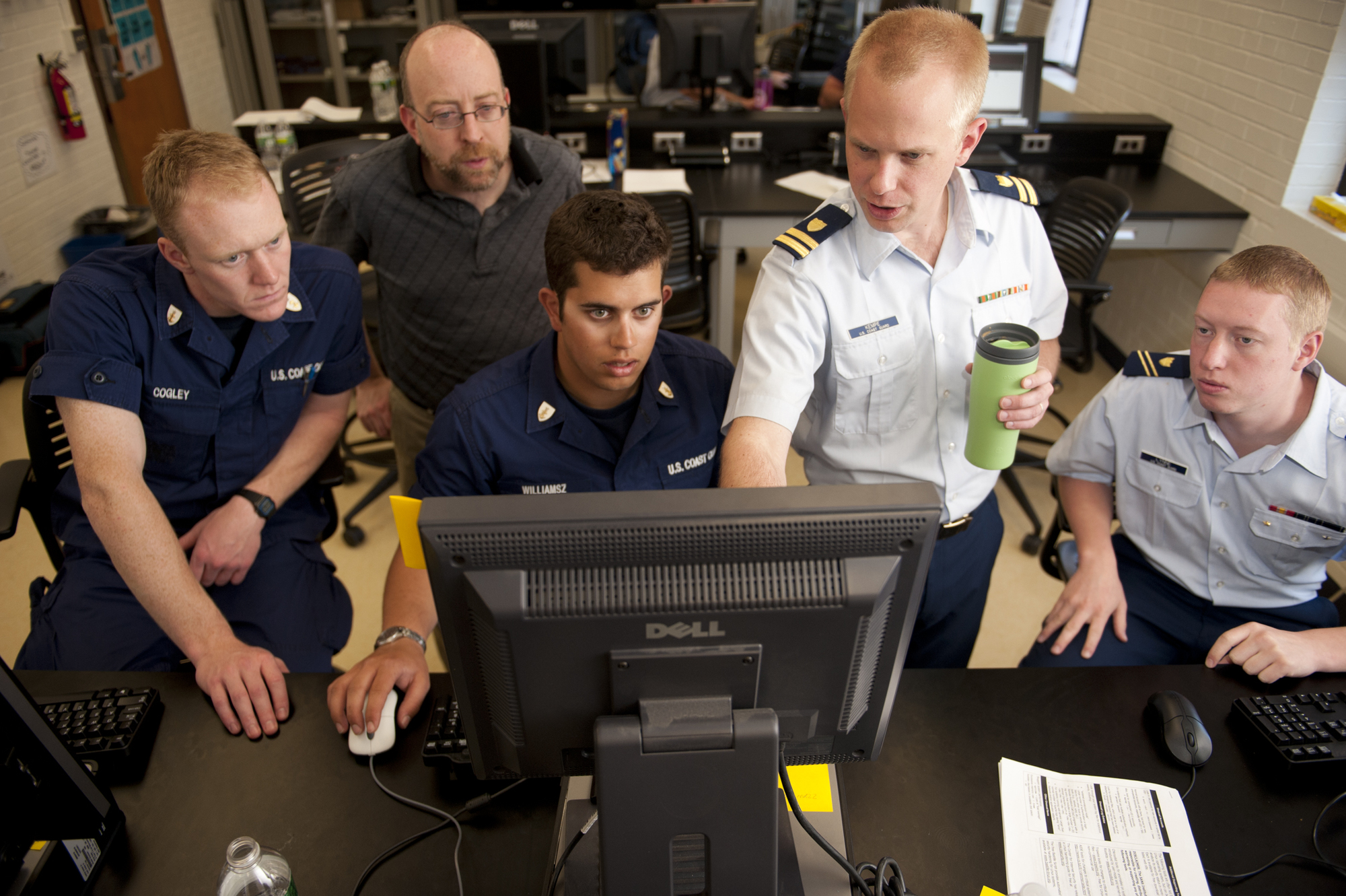 Second Class Cadets test their network connection, April 19, 2012, during the 2012 Cyber Defense Exercise at the U.S. Coast Guard Academy.