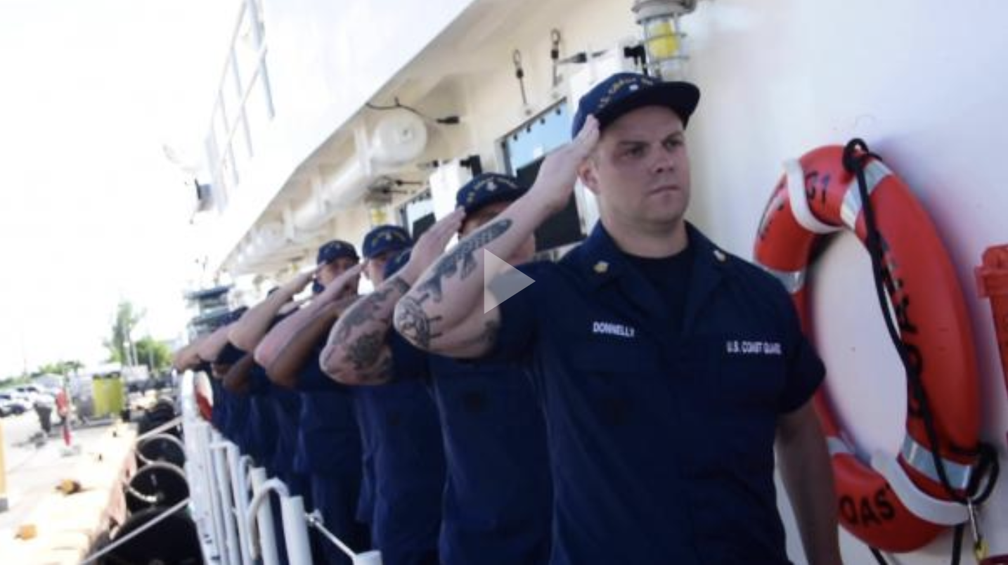 Lt. John Beal, commanding officer of the Coast Guard Cutter Terrell Horne, officially signed for the cutter during a signing ceremony in Key West, Florida Thursday, Oct. 25, 2018.