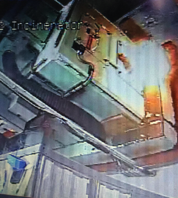 U.S. Coast Guard Cutter Polar Star experienced an incinerator fire onboard the cutter on the evening of Feb. 10, 2019, in the Southern Ocean. The cutter set General Emergency and spent two hours battling the fire before it was extinguished. U.S. Coast Guard photo from ship board CCTV.