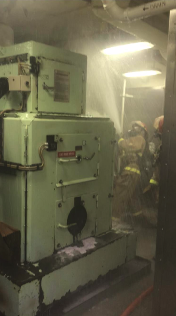 U.S. Coast Guard Cutter Polar Star fire team responds to an incinerator room fire onboard Feb. 10, 2019, in the Southern Ocean. Two attack teams from both repair lockers combated the fire with portable CO2 and PKP fire extinguishers and firefighting water for two hours before it was extinguished.
