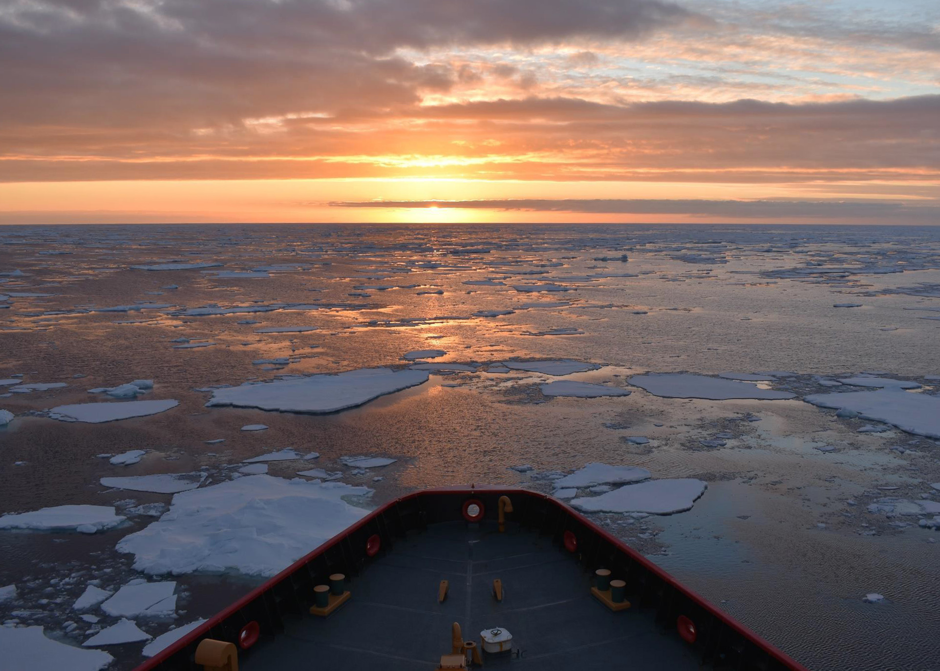 Coast Guard Cutter Polar Star breaking nice near McMurdo Station, Antarctica