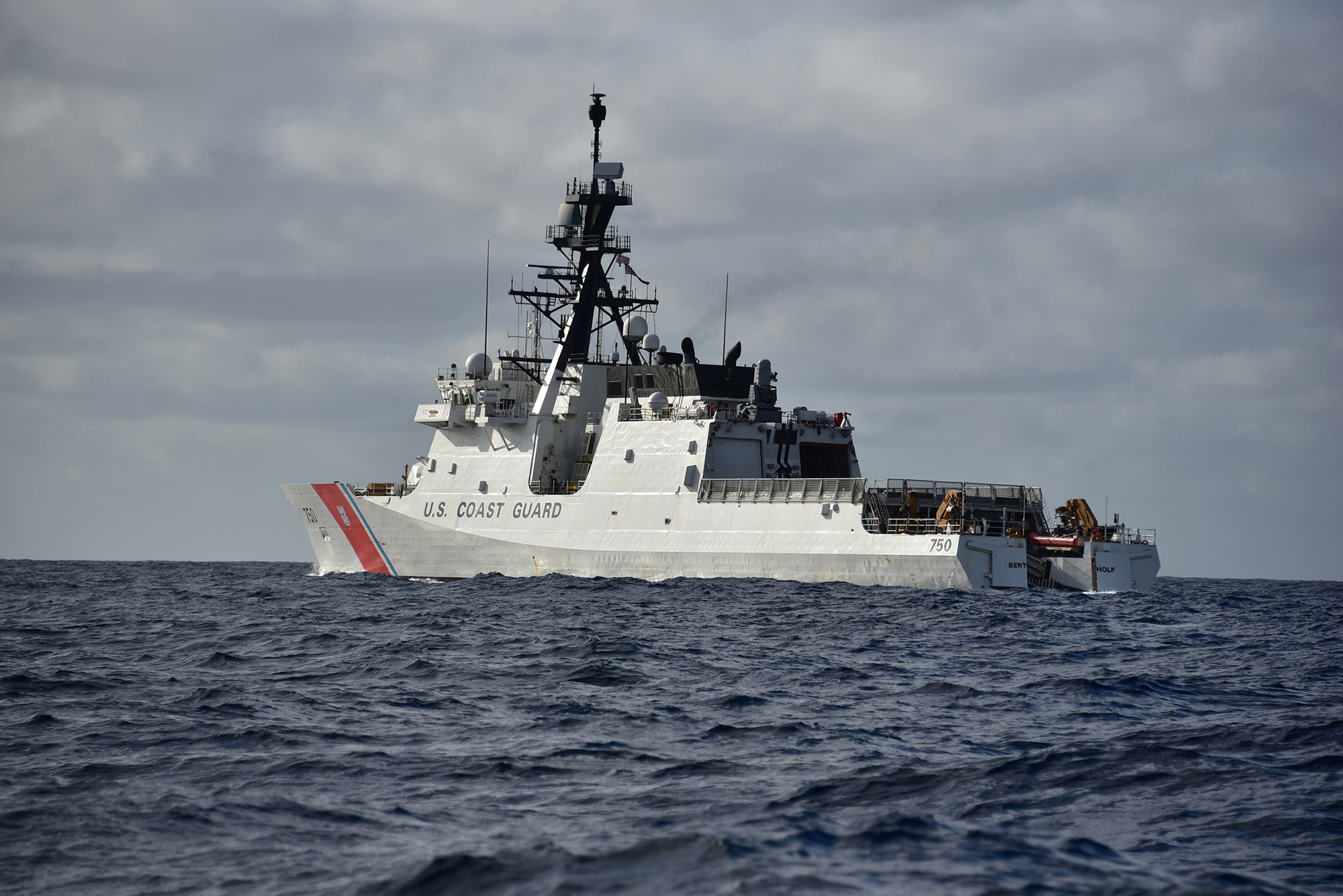 The crew of the U.S. Coast Guard Cutter Bertholf (WMSL 750) is on patrol of the Western Pacific Ocean Jan. 22, 2019.  The crew aims to improve regional governance and security and enhance partner nations' maritime capabilities. U.S. Coast Guard photo by Chief Petty Officer John Masson
