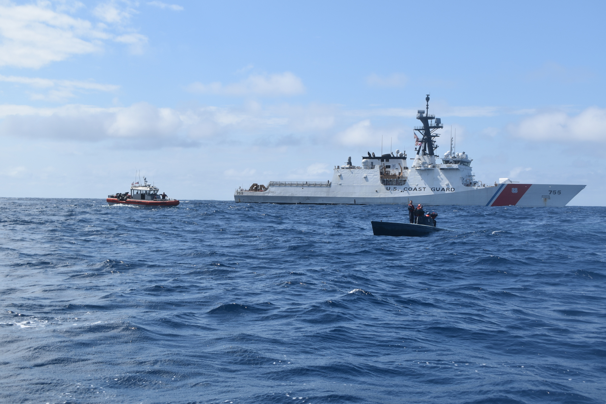 Coast Guard Cutter Munro boarding team interdicts suspected drug smuggling vessel