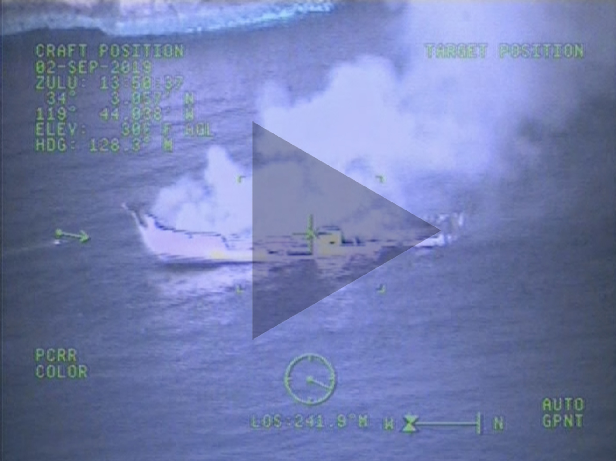 Aerial video from Coast Guard helicopter of Conception diving boat that sank of Santa Cruz Island