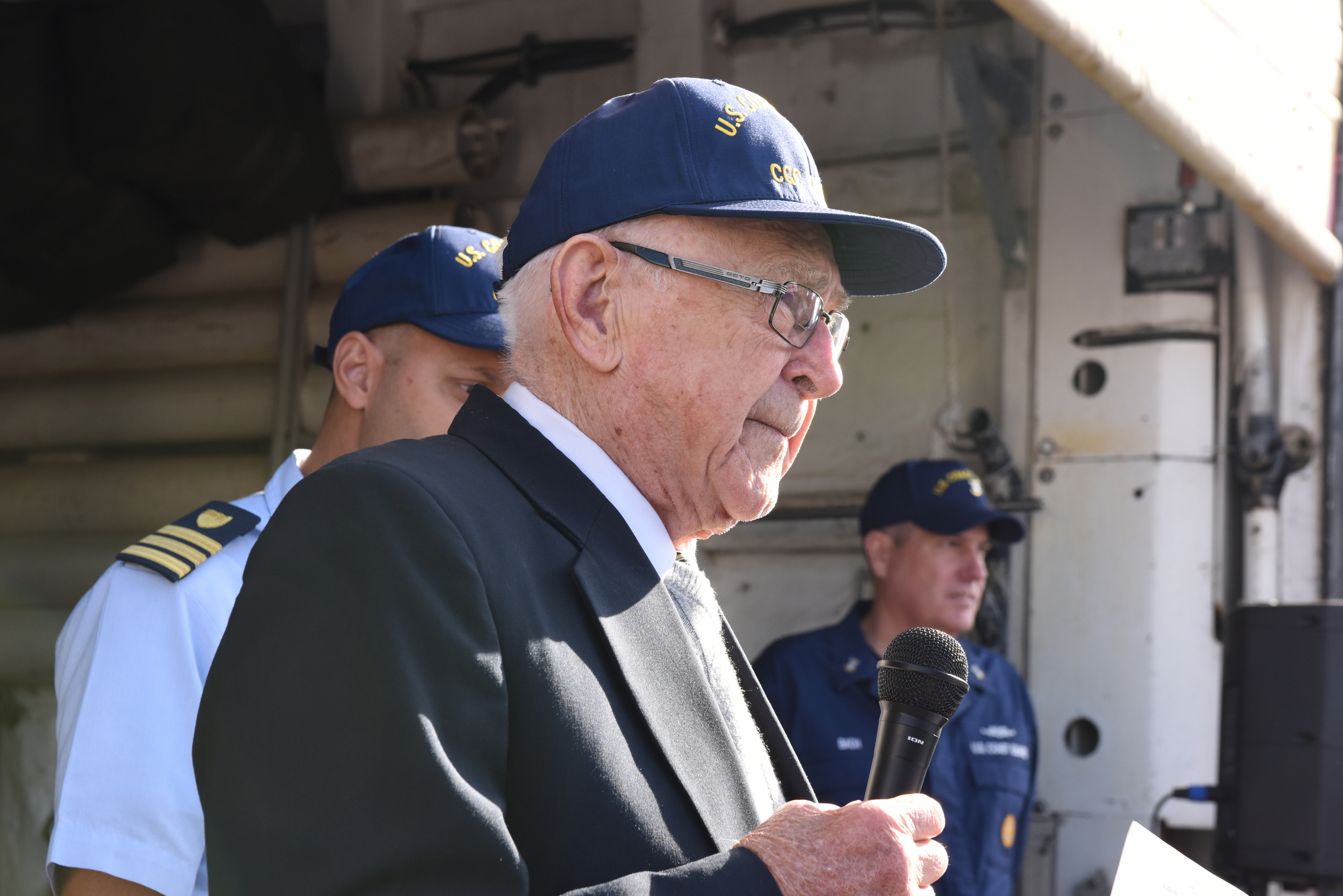 World War 2 Coast Guard veteran gifts the Coast Guard with a historical flag