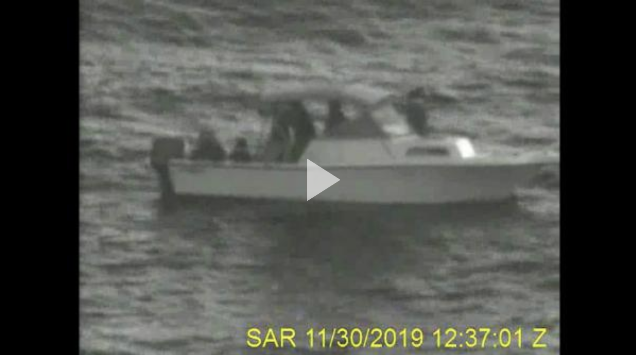 A Coast Guard Station Lake Worth Inlet 45-foot Response Boat—Medium boat crew and a Palm Beach Sheriff's Office (PBSO) marine crew rescued 17 people from a disabled vessel Nov. 30, 2019, 17 miles east of Juno Beach, which was also reported overdue from the Bahamas.